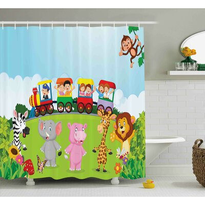 Donnie Cartoon Kids Nursery Design Happy Children on a Choo Choo Train With Safari Animals Artwork Shower Curtain Size: 69 W x 70 H