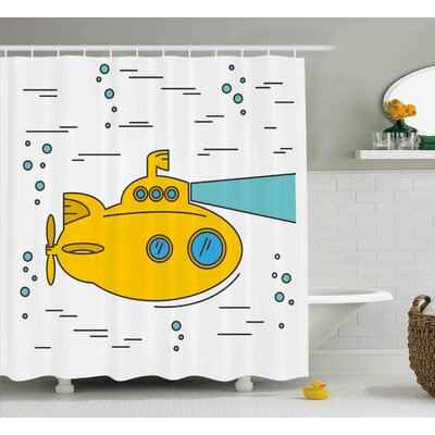 Fay Yellow Submarine Ocean Nautical Adventure Underwater Bubbles Porthole Cartoon Kids Shower Curtain Size: 69 W x 84 H