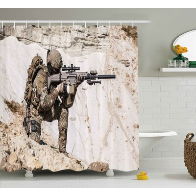 Army United States Ranger on The Mountain Targeting With Gun Camouflage War Picture Shower Curtain Size: 69 W x 70 H
