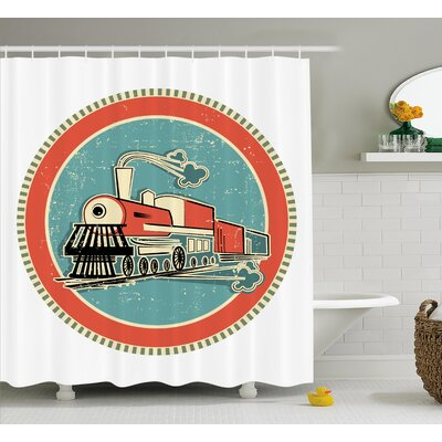 Delbert Steam Engine Vintage Orange and Blue Banner Style Train Print Transportation Retro Print Shower Curtain Size: 69 W x 75 H