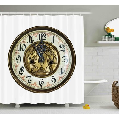 Americus Antique Theme a Vintage Clock With a Face on It Stylish Decorative Pattern Shower Curtain Size: 69 W x 70 H