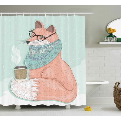 Danielle Animal Cute Hipster Fox With Glasses and Scarf Drinking Coffee Hippie Illustration Shower Curtain Size: 69 W x 70 H
