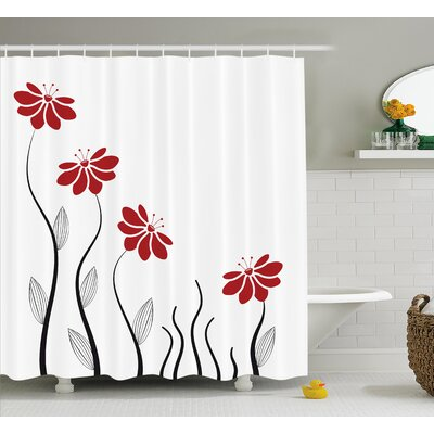 Nielsen Petals With Striped Leaves and Lines Modern Geometric Design Print Shower Curtain Size: 69 W x 75 H