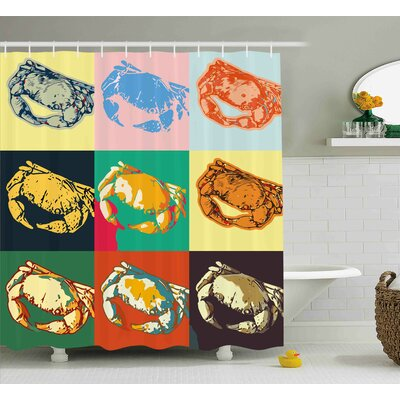 Buechler Collection of Crabs Shower Curtain Size: 69 W x 70 H