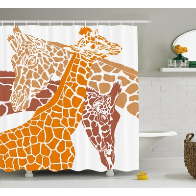 Bredevoort Giraffe Sketch of a Family Safari Wildlife Shower Curtain Size: 69 W x 70 H