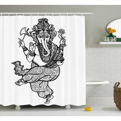 Castro Indian Asian Elephant Goddess With Axe and Lotus Mandala Style Ritual Sketch Print Shower Curtain Size: 69 W x 75 H