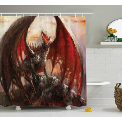 Fantasy World Majestic Dragon Mountain Top Mythological Fire-Spewing Creature Spooky Decor Shower Curtain Size: 69 W x 70 H
