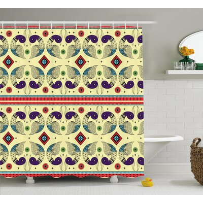 Toni Tribal Indian Creative Peacock Pattern With Flowers Abstract Native America Art Shower Curtain Size: 69 W x 70 H