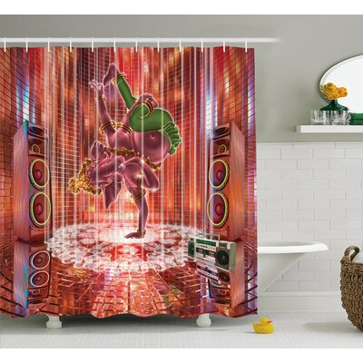 Ashmead Animal Indian Elephant God Dancing Rocking The Dance Floor With Its Meditating Moves Print Shower Curtain Size: 69 W x 75 H