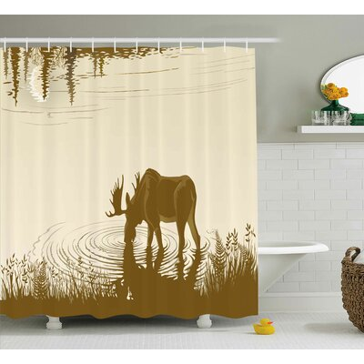 Ryans Animal Silhouette of Elk Drinking Water Shower Curtain Size: 69 W x 70 H