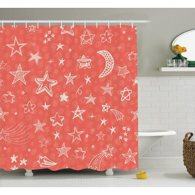 Jessica Moon and Stars Theme Starry Night Shooting Star Space Galaxy Kids Doodle Style Shower Curtain Size: 69 W x 70 H