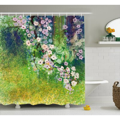 Oram Traditional Japanese Cherry Blossom Sakura Tree Petals Grass Land Paint Shower Curtain Size: 69 W x 75 H