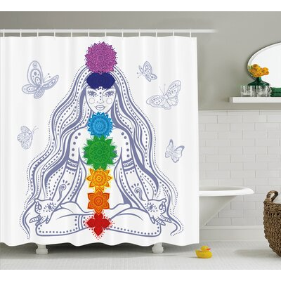 Allston Chakra Spiritual Girl Shower Curtain Size: 69 W x 70 H