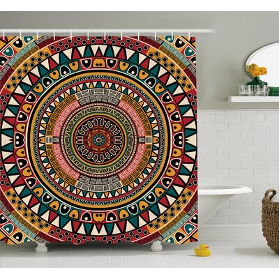 Clark Tribal African Folkloric Tribe Round Pattern With Ethnic Colors Aztec Art Shower Curtain Size: 69 W x 70 H