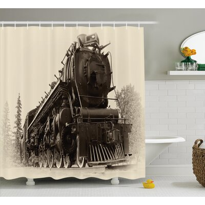 Jaime Steam Engine Antique Northern Express Train Canada Railways Photo Freight Machine Print Shower Curtain Size: 69 W x 75 H