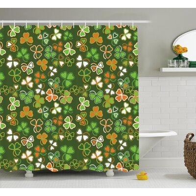 St. PatrickS Day Lucky Shamrocks Pattern Irish Clover Celebration Day Party Prints Shower Curtain Size: 69 W x 70 H