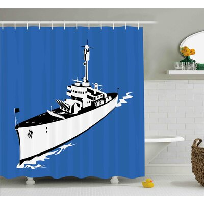 Elisabeth Cartoon Navy Force War Ship Boat Sealife Ocean Themed Animation Like Image Shower Curtain Size: 69 W x 70 H