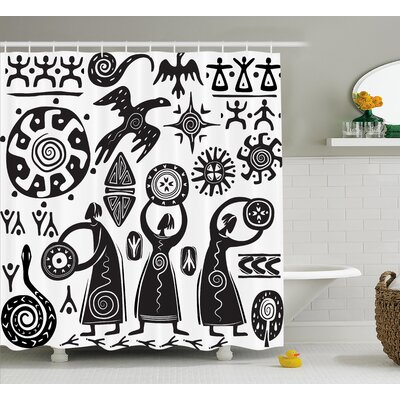 Nadud Shaman Eagle Sun Snake Figure Prehistoric Cave Drawing Tribal Folkloric Shower Curtain Size: 69 W x 70 H