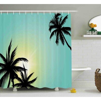 Tricia Modern Hawaiian Miami Beach Island Palm Trees With Sun Like Clear Skies Art Print Image Shower Curtain Size: 69 W x 70 H