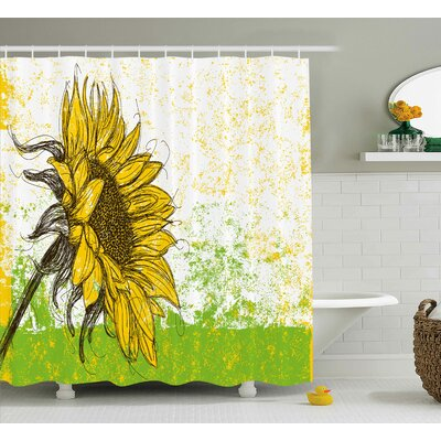 Acee Nature Print With Sunflowers Shower Curtain Size: 69 W x 70 H
