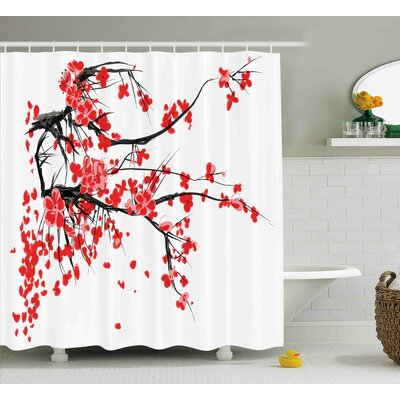 Brondby Japanese Cherry Blossom Sakura Blooms Branch Spring Inspirations Print Shower Curtain Size: 69 W x 70 H
