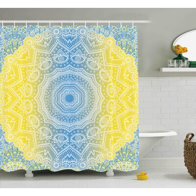 Newport Blue and Yellow Ombre Mandala Design Tribal Chinese Esoteric Pattern Mystic Universe Print Shower Curtain Size: 69 W x 70 H