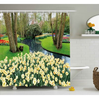 Morty Spring Flower Garden Shower Curtain Size: 69 W x 70 H