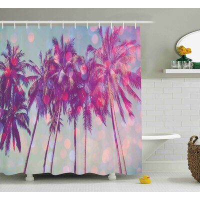 Michael Nature Palm Trees Hawaiian Tropic Seashore Beach Californian Miami Sunbeams Image Shower Curtain Size: 69 W x 84 H