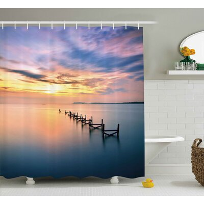 Silvia Nature Sunset At Abandoned Jetty With Smooth Water and Nice Sky Digital Image Shower Curtain Size: 69 W x 70 H