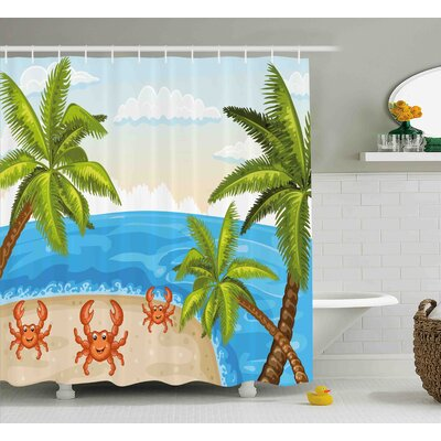 Budron Crabs Cartoon Style Illustration of Palm Trees and Crabs on Beach Cloudy Sky Print Shower Curtain Size: 69 W x 70 H