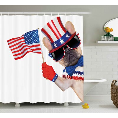 4th of July Proud to Be American Emblem Label Seal Inspirational Homeland Love Design Shower Curtain Size: 69 W x 70 H