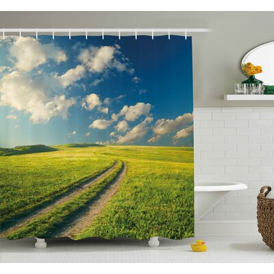 Vivienne Nature Grass Path Clouds Sky Serene Sun Spring Rural Country Panorama Art Shower Curtain Size: 69 W x 70 H