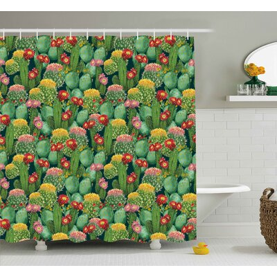 Spring Grove Nature Garden Flowers Cactus Texas Desert Botanic Various Plants With Spikes Pattern Shower Curtain Size: 69 W x 70 H