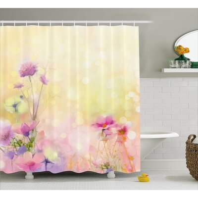 Ariel Vintage Soft Feminine Magnolia Blooms Motif Whorls Art Shower Curtain Size: 69 W x 75 H