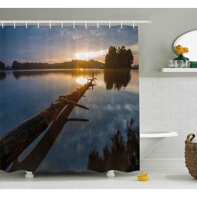 Bynes Natural Theme Landscape of Driftwood and Lake Shower Curtain Size: 69 W x 70 H