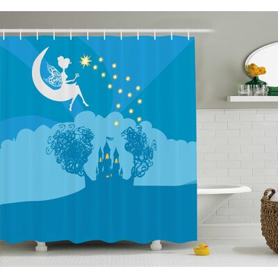 Emma Girly Magical Fairy Tale Princess Castle With Female Pixie Crescent Moon Dreamy Print Shower Curtain Size: 69 W x 75 H