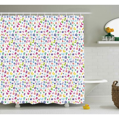 Ericka Kids Cute Colorful Alphabet Abc Bubble Letters Doodle Style Fun Childish Nursery Design Shower Curtain Size: 69 W x 70 H
