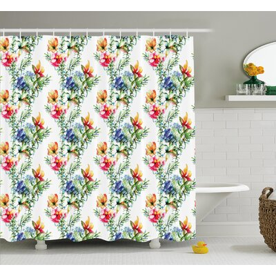 Bradlee Shabby Elegance Decor Mimosas Daisies Flowers Leaves Buds Lilacs Artwork Print Shower Curtain Size: 69 W x 70 H