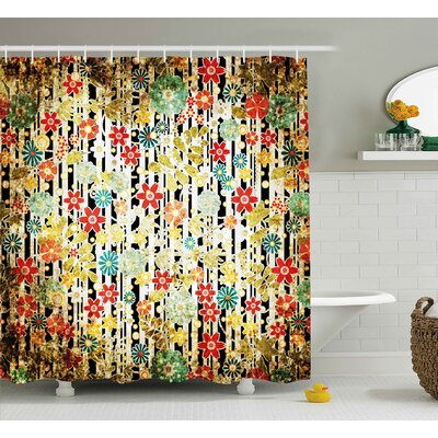 Acosta Ivy Line Like Colored Flowers Leafs and Buds With Striped Background Artwork Shower Curtain Size: 69 W x 70 H