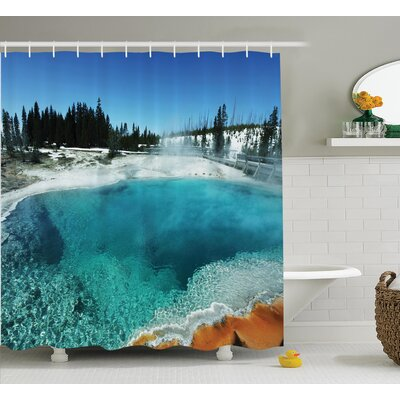 Simmons Hot Clear Spring and Evergreen Forest Shower Curtain Size: 69 W x 70 H