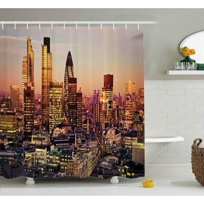 Valentina New York Global City Sunset With Light Reflecting on Skyscrapers Famous Town Landmark View Shower Curtain Size: 69 W x 70 H