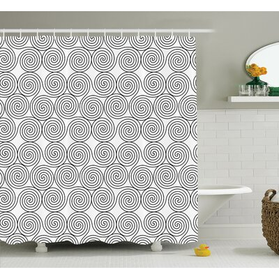 Kathryn Vintage Triple Spiral Pattern With Rotational Symmetric Lines Boho Decor Shower Curtain Size: 69 W x 75 H