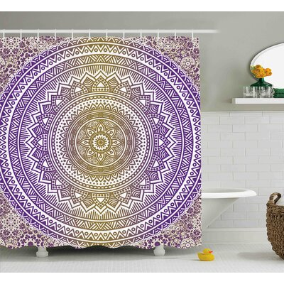 Auderghem Yellow and Purple Mandala Tribal Vintage Indian Karma Shower Curtain Size: 69 W x 70 H