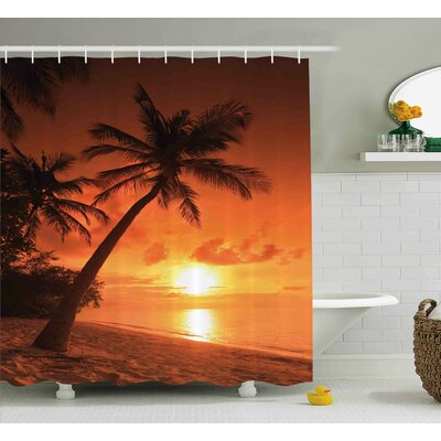 Cecelia Tropical Twilight Dusk At Sandy Beach With Coconut Palms Maldives Summer Panorama Shower Curtain Size: 69 W x 70 H