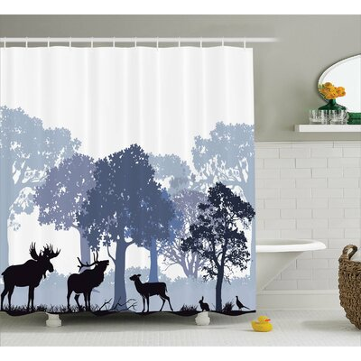 Buttercup Moose Forest Design Abstract Woods North American Wild Animals Deer Hare Elk Trees Shower Curtain Size: 69 W x 70 H