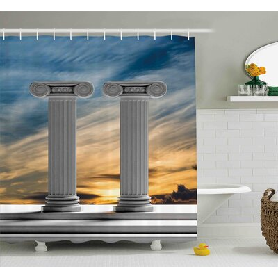 Nicole Two Ancient Marble Pillars At Sunset Clouds Shower Curtain Size: 69 W x 75 H
