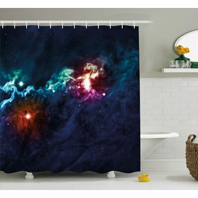 Jonathon Galactic Glamour Elegance on Milky Way on Colorful Alluring Cosmos Lights Display Shower Curtain Size: 69 W x 84 H