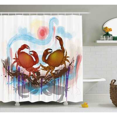 Buffalo Sea Animals Theme Two Crabs Dancing on Abstract Grunge Background Print Shower Curtain Size: 69 W x 70 H