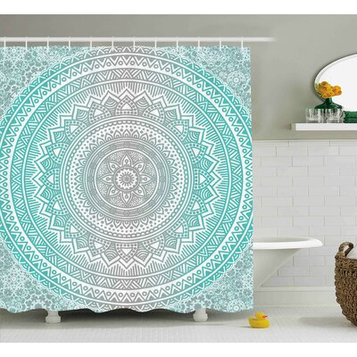 Newburyport Grey and Aqua Ombre Traditional Universe Symbol With Tribal Geometric Mandala Zen Artwork Shower Curtain Size: 69 W x 70 H