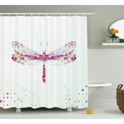 Thompson Futuristic Dragonfly Made With Spot Effects Properties Winged Flying Decor Shower Curtain Size: 69 W x 75 H